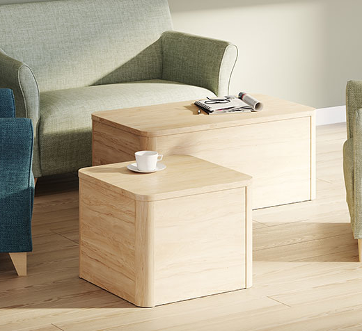 Acumen coffee tables in a mental health lounge