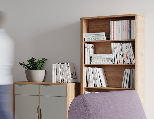 Bookcase in mental health lounge