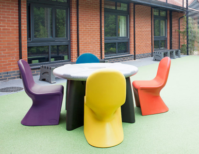 Ryno dining table in outdoor mental health unit